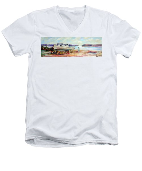 Men's V-Neck T-Shirt featuring the painting Lovie by Patricia Piffath