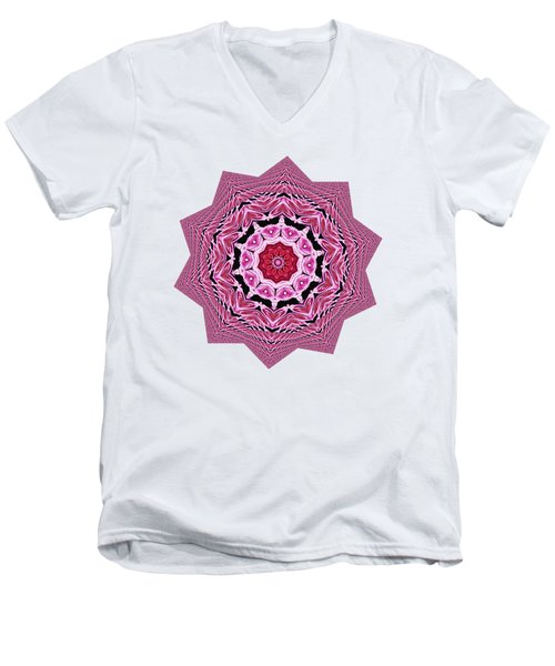 Loving Rose Mandala By Kaye Menner Men's V-Neck T-Shirt