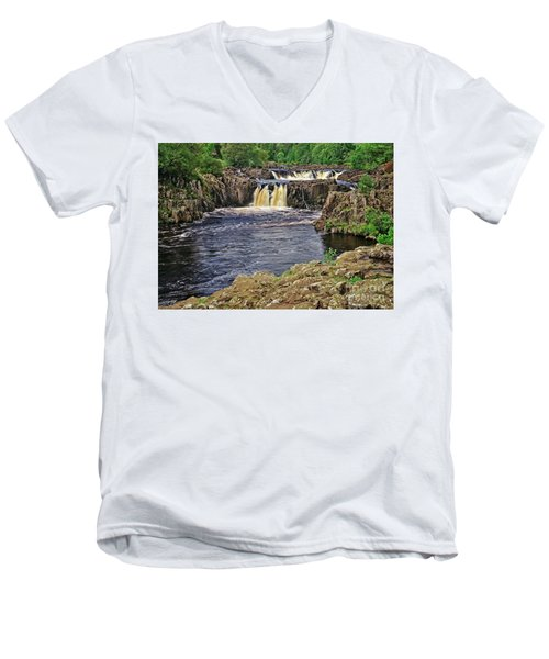 Low Force Waterfall, Teesdale, North Pennines Men's V-Neck T-Shirt