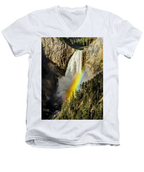 Lower Falls- Yellowstone Park Men's V-Neck T-Shirt by Penny Lisowski
