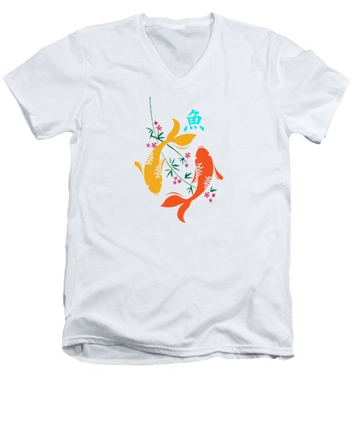 Lucky Koi Fish Men's V-Neck T-Shirt by Naviblue