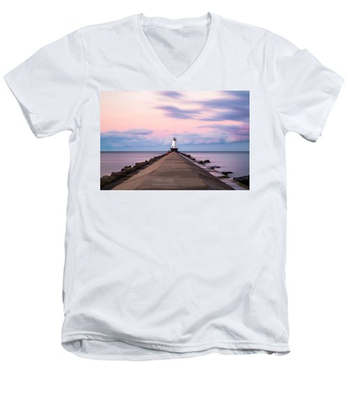 Men's V-Neck T-Shirt featuring the photograph Ludington North Breakwater Light Sunrise by Adam Romanowicz