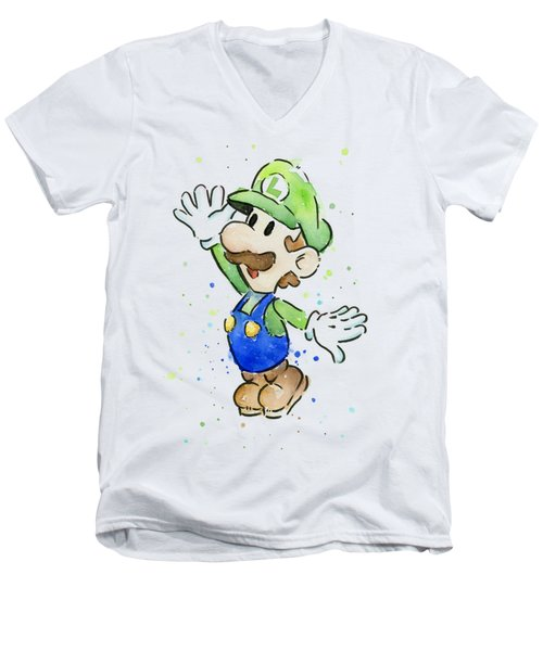 Luigi Watercolor Men's V-Neck T-Shirt