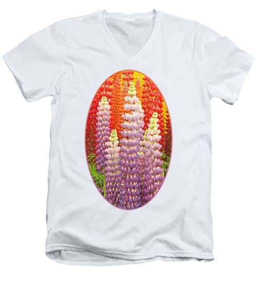 Luscious Lupins Men's V-Neck T-Shirt