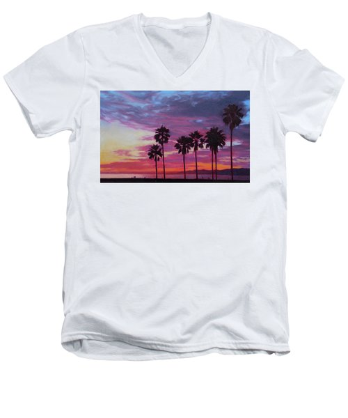 Men's V-Neck T-Shirt featuring the painting Lush by Andrew Danielsen