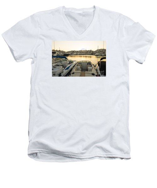 Luxury Yachts Puerto Banus Men's V-Neck T-Shirt by Perry Van Munster