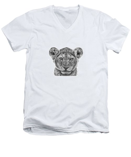 Men's V-Neck T-Shirt featuring the drawing Lyla The Lion Cub by Abbey Noelle