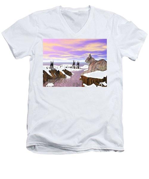 Lynx Watcher Render Men's V-Neck T-Shirt