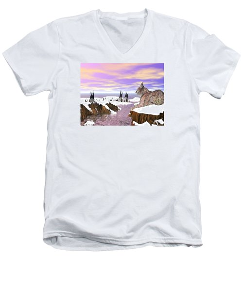 Lynx Watcher Render Men's V-Neck T-Shirt