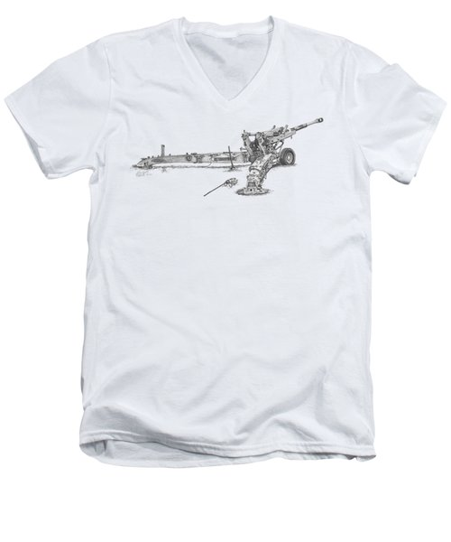 M198 Howitzer - Natural Sized Prints Men's V-Neck T-Shirt