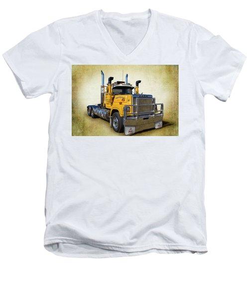 Mack Truck Men's V-Neck T-Shirt by Keith Hawley