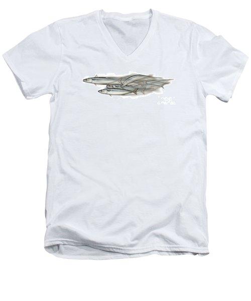 Mackerel School Of Fish - Scomber - Nautical Art - Seafood Art - Marine Art -game Fish Men's V-Neck T-Shirt
