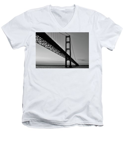 Mackinac Bridge At Sunset Men's V-Neck T-Shirt