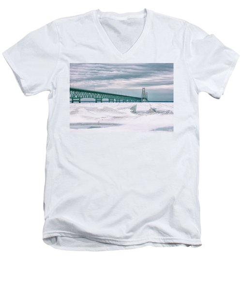 Men's V-Neck T-Shirt featuring the photograph Mackinac Bridge In Winter During Day by John McGraw