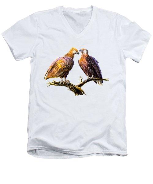 Madagascar Fish Eagle  Men's V-Neck T-Shirt by Anthony Mwangi