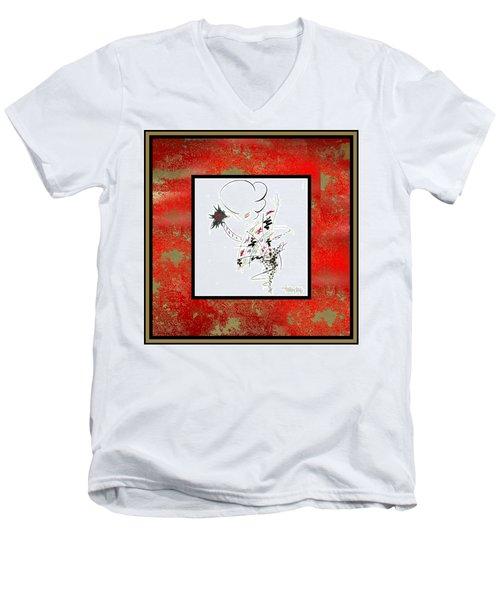 Men's V-Neck T-Shirt featuring the painting Madame Butterfly by Larry Talley