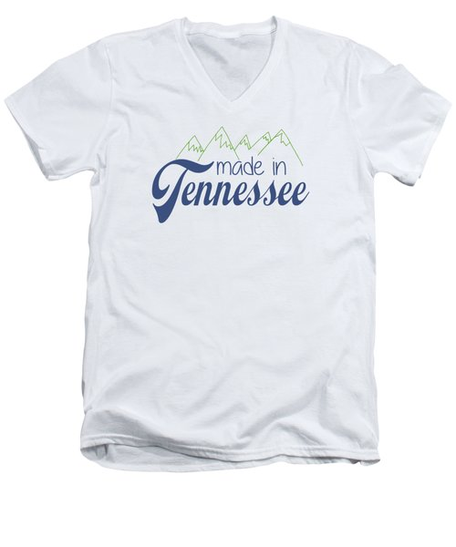 Made In Tennessee Blue Men's V-Neck T-Shirt by Heather Applegate