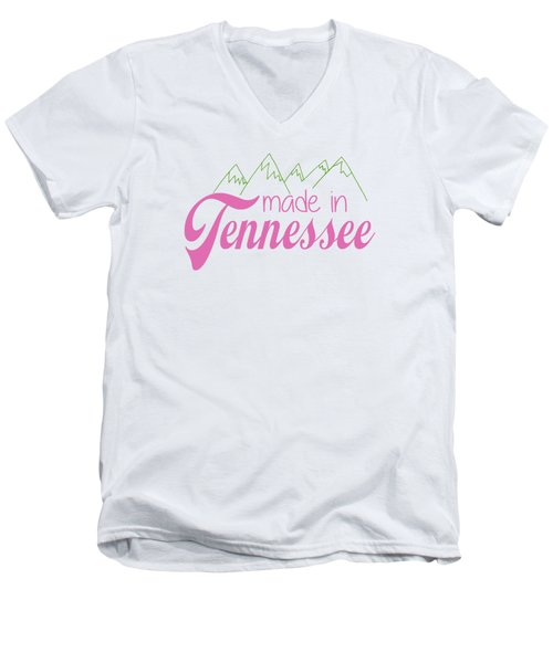 Made In Tennessee Pink Men's V-Neck T-Shirt by Heather Applegate