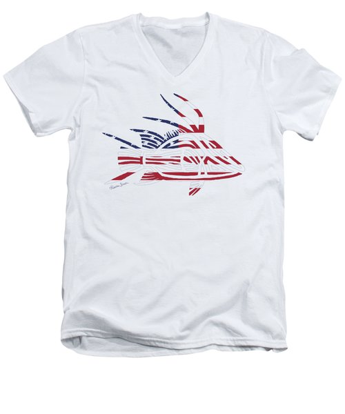 Made In The Usa Tribal Hogfish Men's V-Neck T-Shirt