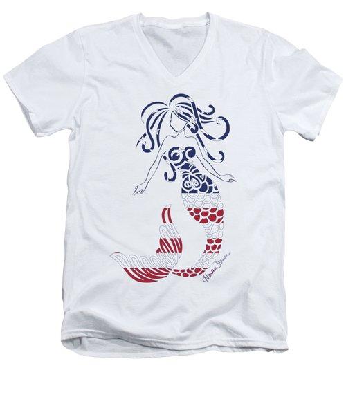 Made In The Usa Tribal Mermaid Men's V-Neck T-Shirt