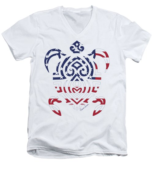 Made In The Usa Tribal Turtle Men's V-Neck T-Shirt
