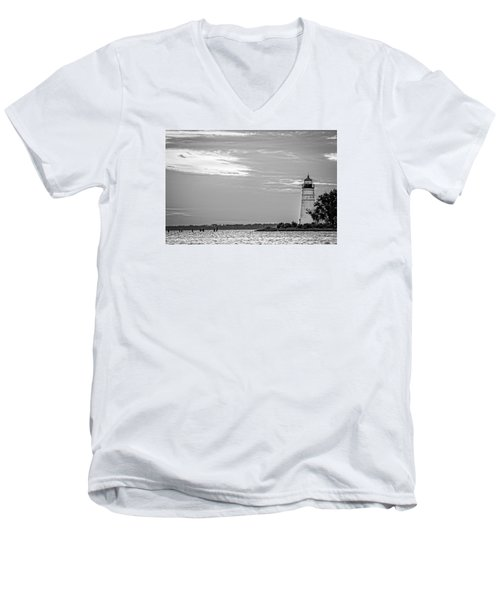 Men's V-Neck T-Shirt featuring the photograph Madisonville Lighthouse In Black-and-white 2 by Andy Crawford