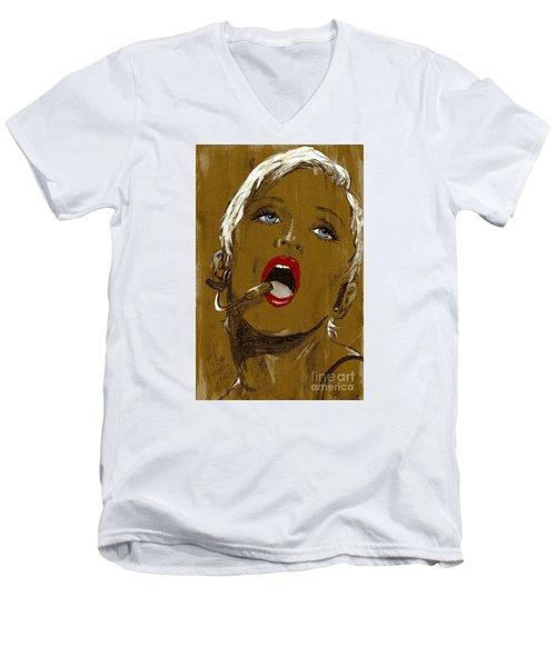 Madonna Men's V-Neck T-Shirt by P J Lewis