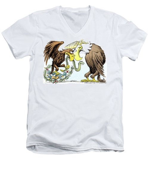 Men's V-Neck T-Shirt featuring the drawing Maga Vs Mexico by Daryl Cagle
