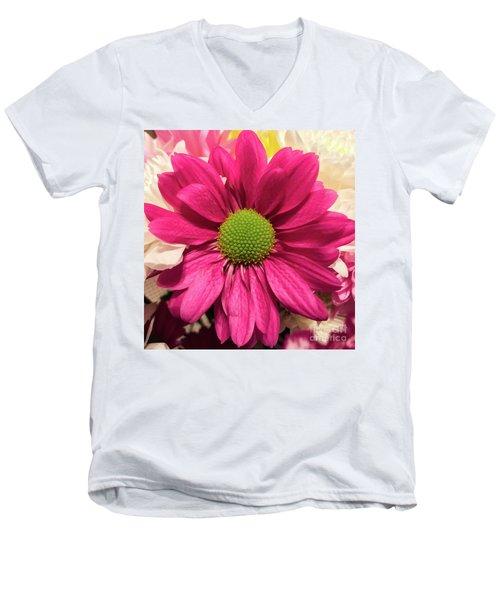 Magenta Chrysanthemum Men's V-Neck T-Shirt