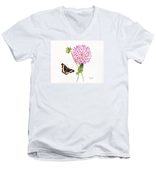 Magenta Dahlia With Butterfly Men's V-Neck T-Shirt