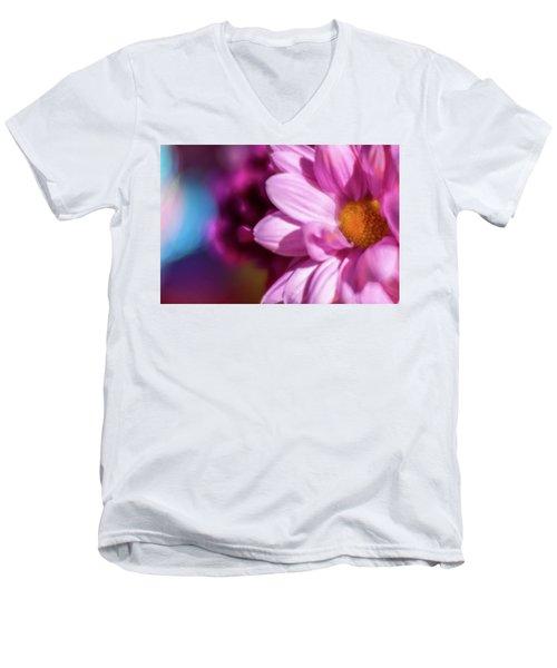 Magenta Floral On Blue Men's V-Neck T-Shirt