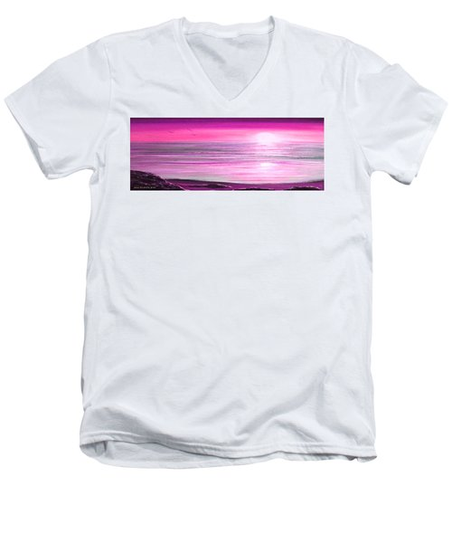 Magenta Panoramic Sunset Men's V-Neck T-Shirt