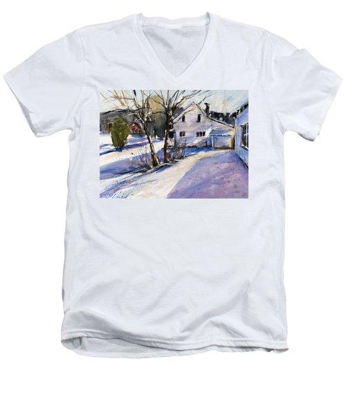 Magenta Shadows Men's V-Neck T-Shirt by Judith Levins