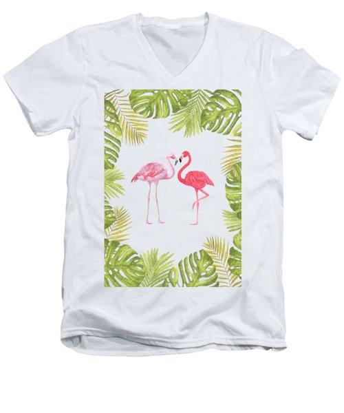 Magical Tropicana Love Flamingos And Leaves Men's V-Neck T-Shirt
