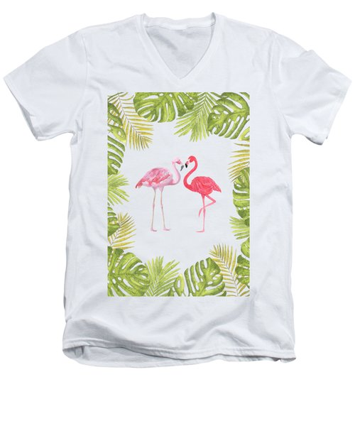 Magical Tropicana Love Flamingos And Leaves Men's V-Neck T-Shirt
