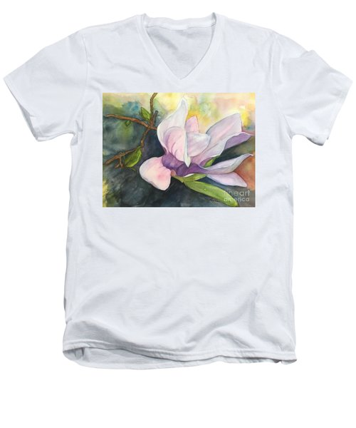 Magnificent Magnolia Men's V-Neck T-Shirt by Lucia Grilletto
