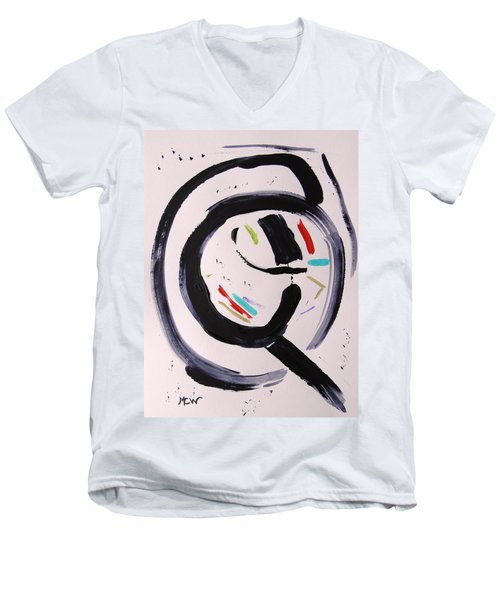 Men's V-Neck T-Shirt featuring the painting Magnifying by Mary Carol Williams