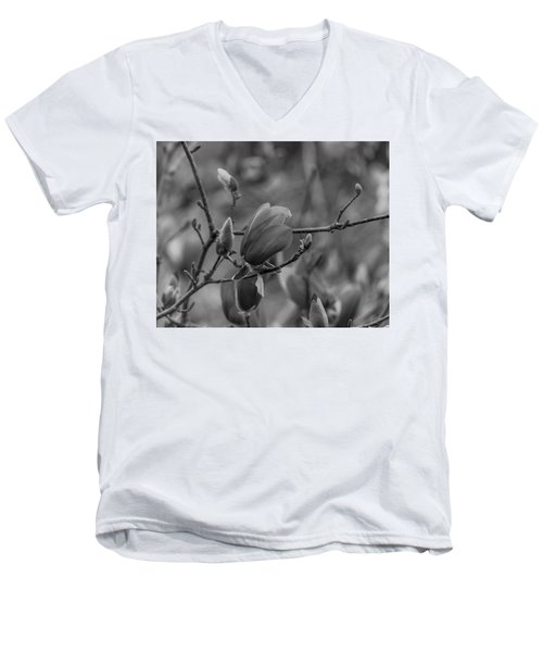 Magnolia Bw Blooms Buds Branches Men's V-Neck T-Shirt