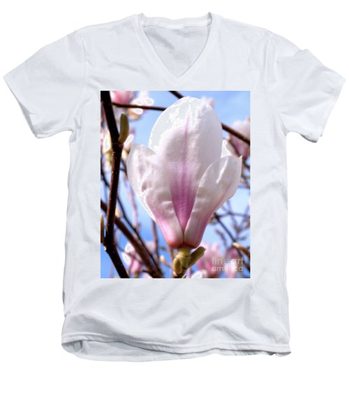 Men's V-Neck T-Shirt featuring the photograph Magnolia Flower Bloom by Stephen Melia