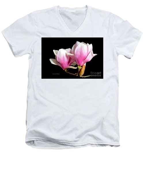 Magnolias In Spring Bloom Men's V-Neck T-Shirt by Jeannie Rhode