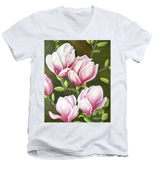Men's V-Neck T-Shirt featuring the painting Magnolias by Inese Poga