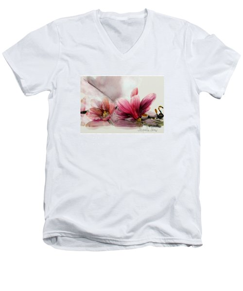 Magnolien .... Men's V-Neck T-Shirt by Jacqueline Schreiber