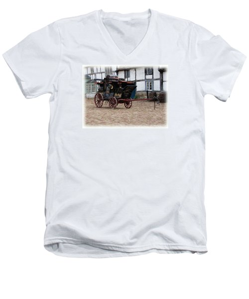 Mail Coach At Lacock Men's V-Neck T-Shirt by Paul Gulliver