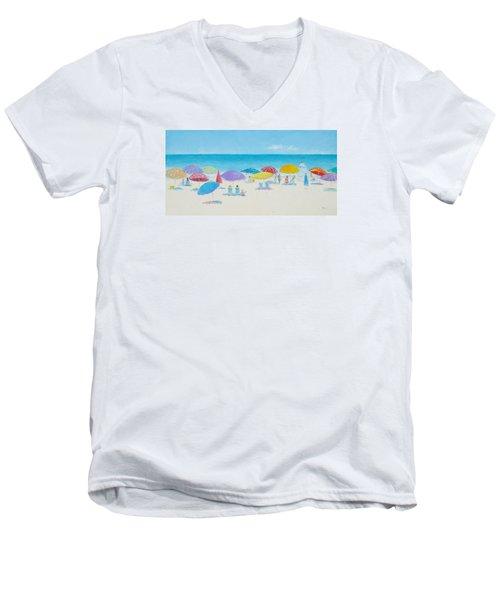 Main Beach East Hampton  Men's V-Neck T-Shirt by Jan Matson
