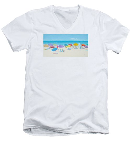 Main Beach East Hampton  Men's V-Neck T-Shirt