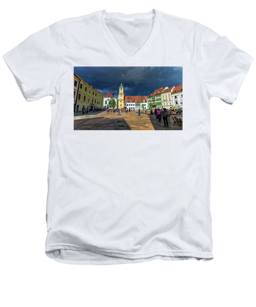 Main Square In The Old Town Of Bratislava, Slovakia Men's V-Neck T-Shirt