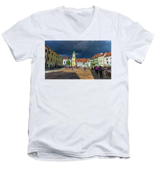Main Square In The Old Town Of Bratislava, Slovakia Men's V-Neck T-Shirt