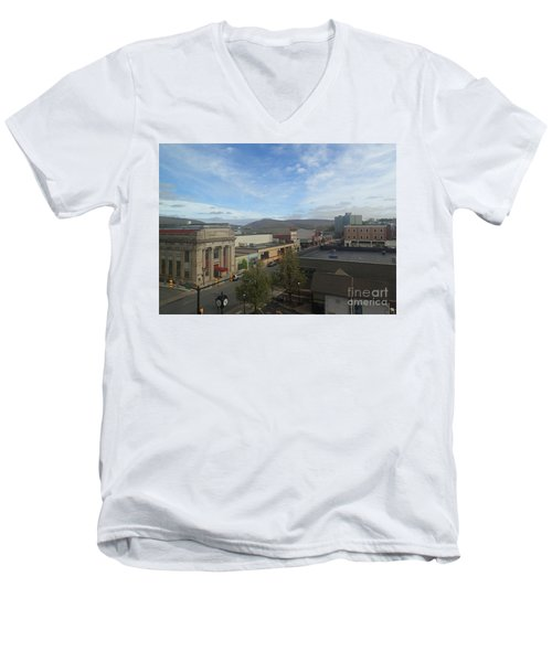 Main St To The Mountains   Men's V-Neck T-Shirt by Christina Verdgeline