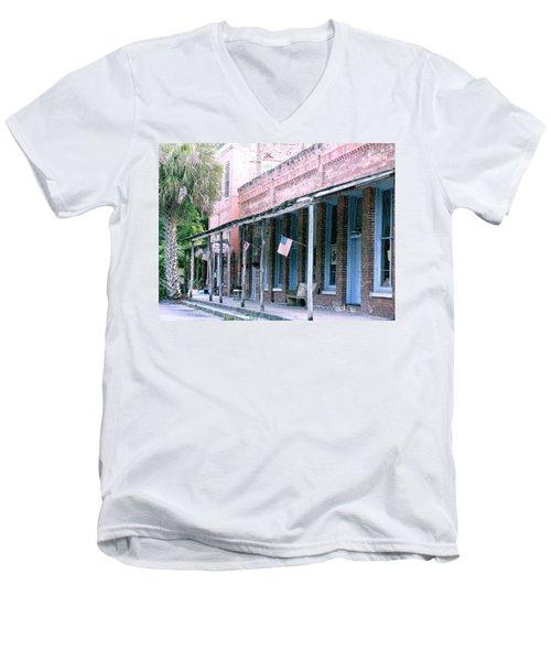 Main Street Micanopy Florida Men's V-Neck T-Shirt