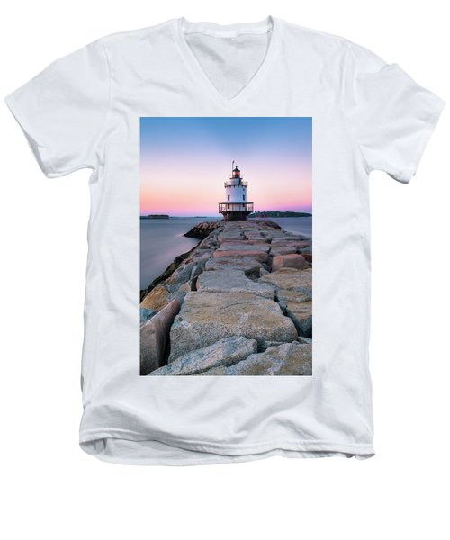 Men's V-Neck T-Shirt featuring the photograph Maine Coastal Sunset Over The Spring Breakwater Lighthouse by Ranjay Mitra